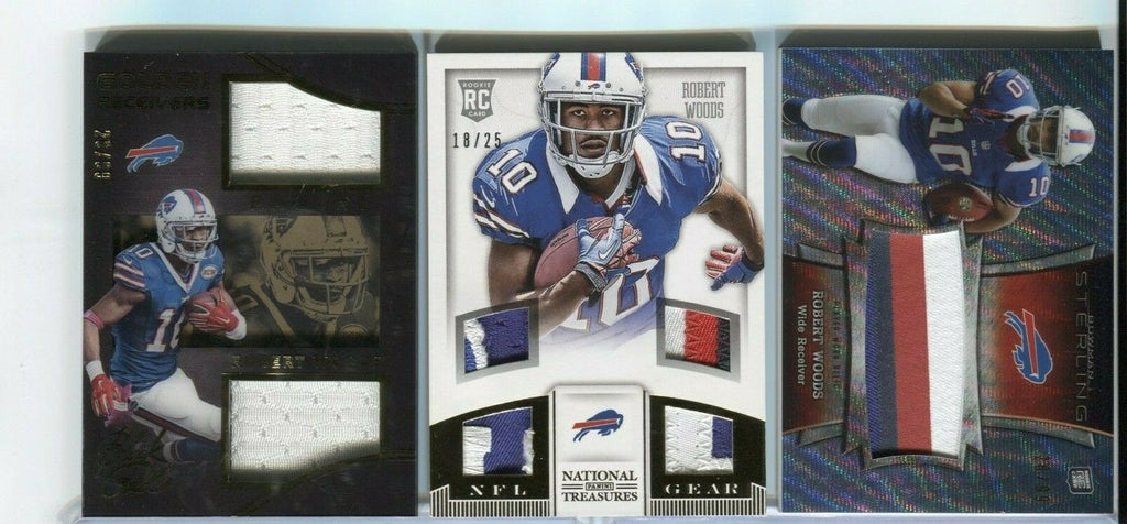 Robert Woods lot of 3 Bills Jesery Cards RC Panini Prime Refactor 100419DBCD