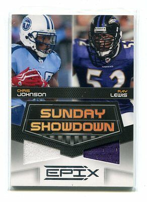 2010 EPIX Sunday Showdown Chris Johnson Ray Lewis Jeresy #'d 67/200 jh17