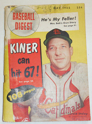 Baseball Digest Magazine Kiner Gerald Staley May 1952 110514R1