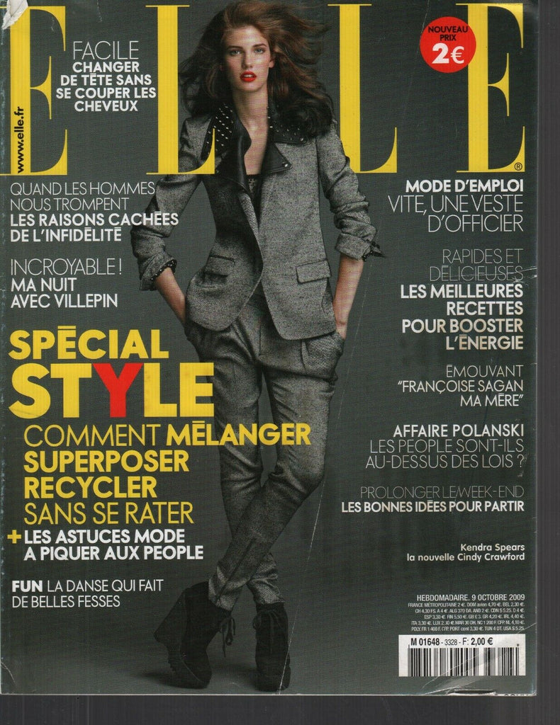 Elle French Magazine 9 Octobre 2009 Kendra Spears Cindy Crawford 091719AME2