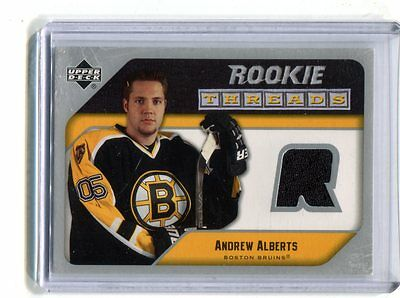 2005-06 Upper Deck Rookie Threads #RT-AA Andrew Alberts Bruins jh17