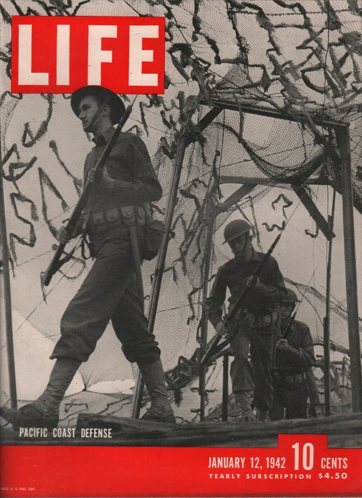 Life Magazine January 12 1942 WWII Pacific Coast Defense Rare Coke Ad 081619AME
