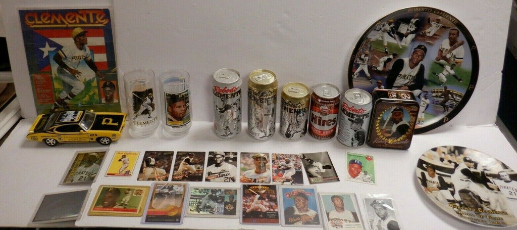 Roberto Clemente Sports Collectibles Lot of 31 Cards Cans Plates Cups 120619DBT