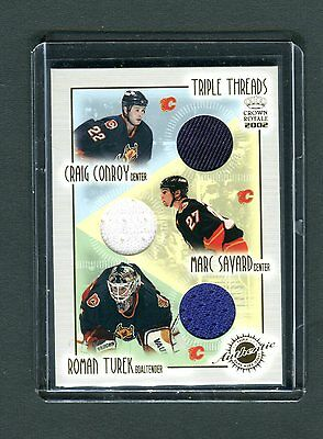 Triple Threads Crown Royale 2002 #2 Conroy Savard Turek Jersey Card jh33