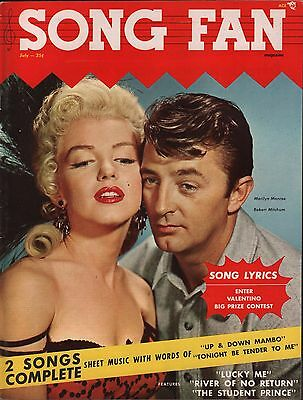 Song Fan Lyric Magazine July 1954 Marilyn Monroe, Robert Mitchum EX 122215DBE