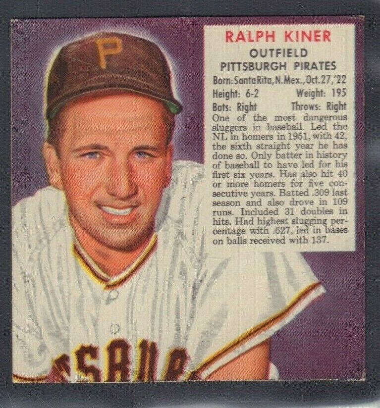 1953 Ralph Kiner Pittsburgh Pirates Man Tobacco Cut Baseball Card 030819DBT