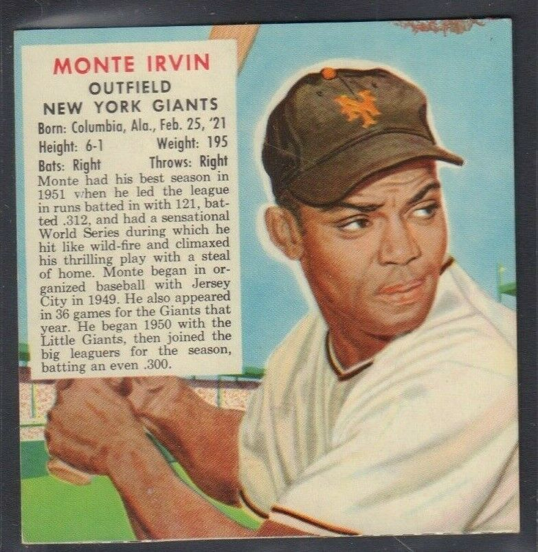 1953 Monte Irvin NY Giants Red Man Tobacco Cut Baseball Card 030819DBT
