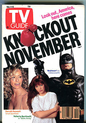 TV Guide Nov. 4-10 1989 Farrah Fawcett Small Sacrifices Batman EX 011516jhe