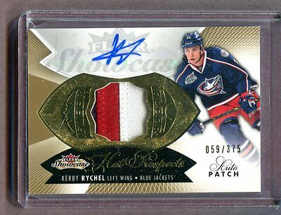 2015 Fleer Hot Prospects #151 Kerby Rychel Blue Jackets Autographed Patch jh4