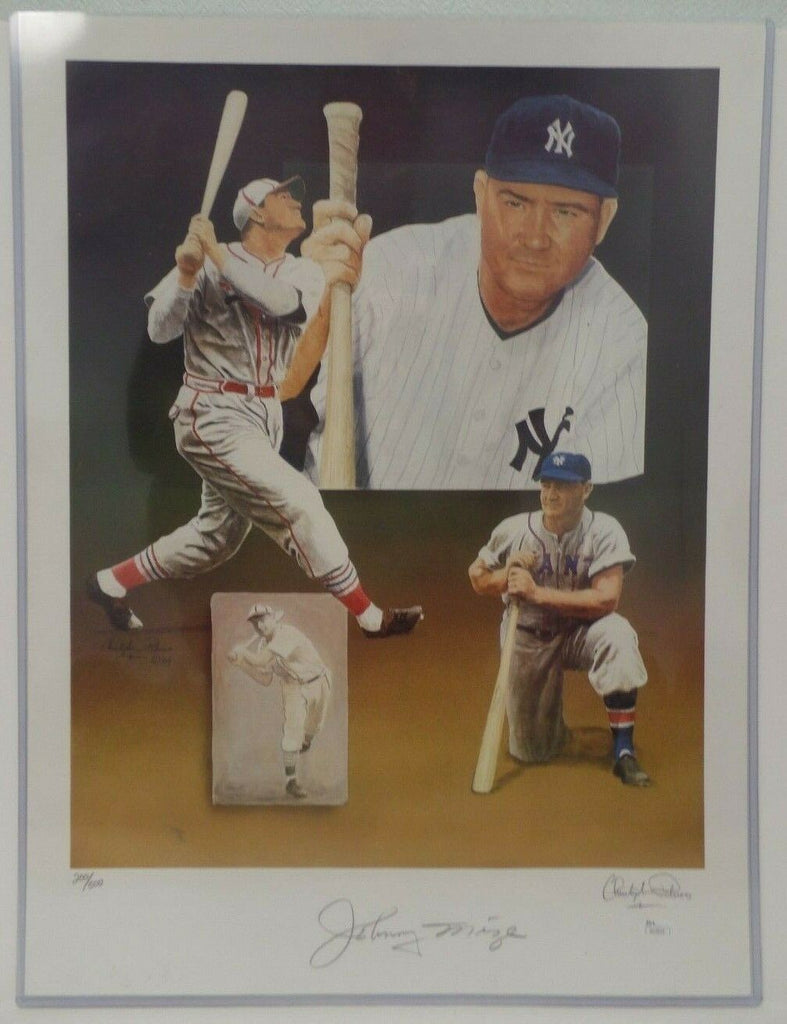 Johnny Mize NY Yankees Signed Autographed 19x24 Lithograph 200 / 500 JSA