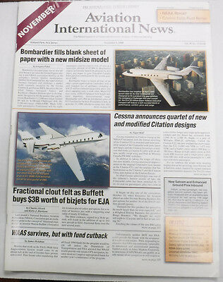 Aviation International News Magazine Bombardier Cessna November 1998 FAL 072115R