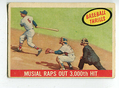 Stan Musial 1959 Topps Thrills card # 470 Raps out 3000th Hit VG
