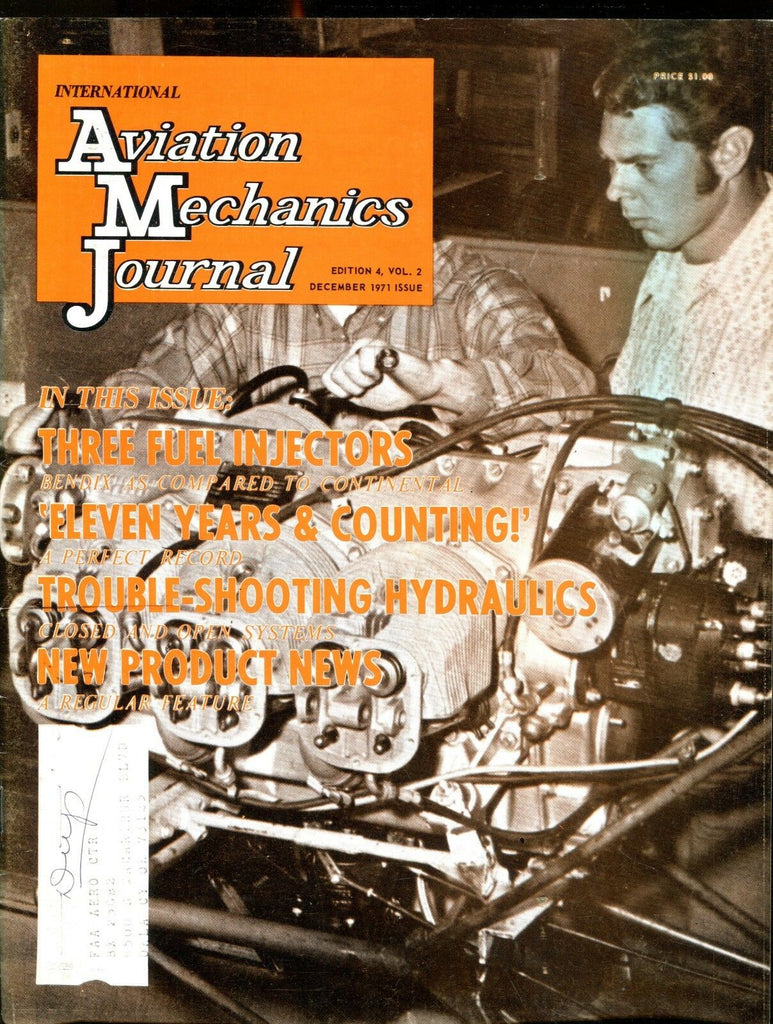 Aviation Mechanics Journal December 1971 Fuel Injectors EX w/ML 121916jhe