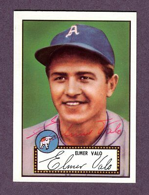 Autographed Signed 1952 Topps Reprint Series #34 Elmer Valo A's w/coa jh33