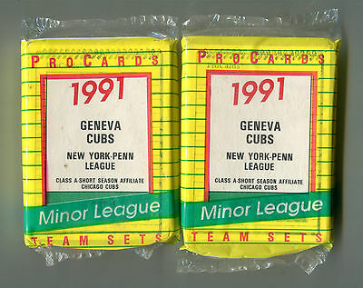 Lot Of (2) 1991 Geneva Cubs NY-Penn League Minor League Team Sets EX jhbx