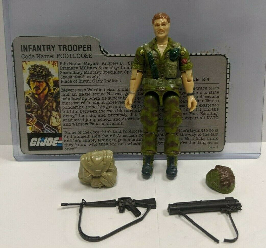 Footloose 1985 Infantry GI Joe 3.75 Figure Complete w/File Card 101519DBT4