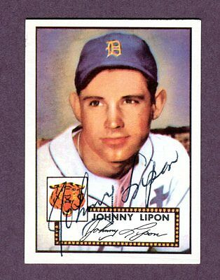 Autographed Signed 1952 Topps Reprint Series #89 Johnny Lipon Tigers w/coa jh33
