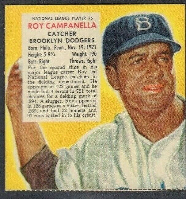 1953 Roy Campanella Brooklyn Dodgers Red Man Tobacco Cut Baseball Card 030819DBT