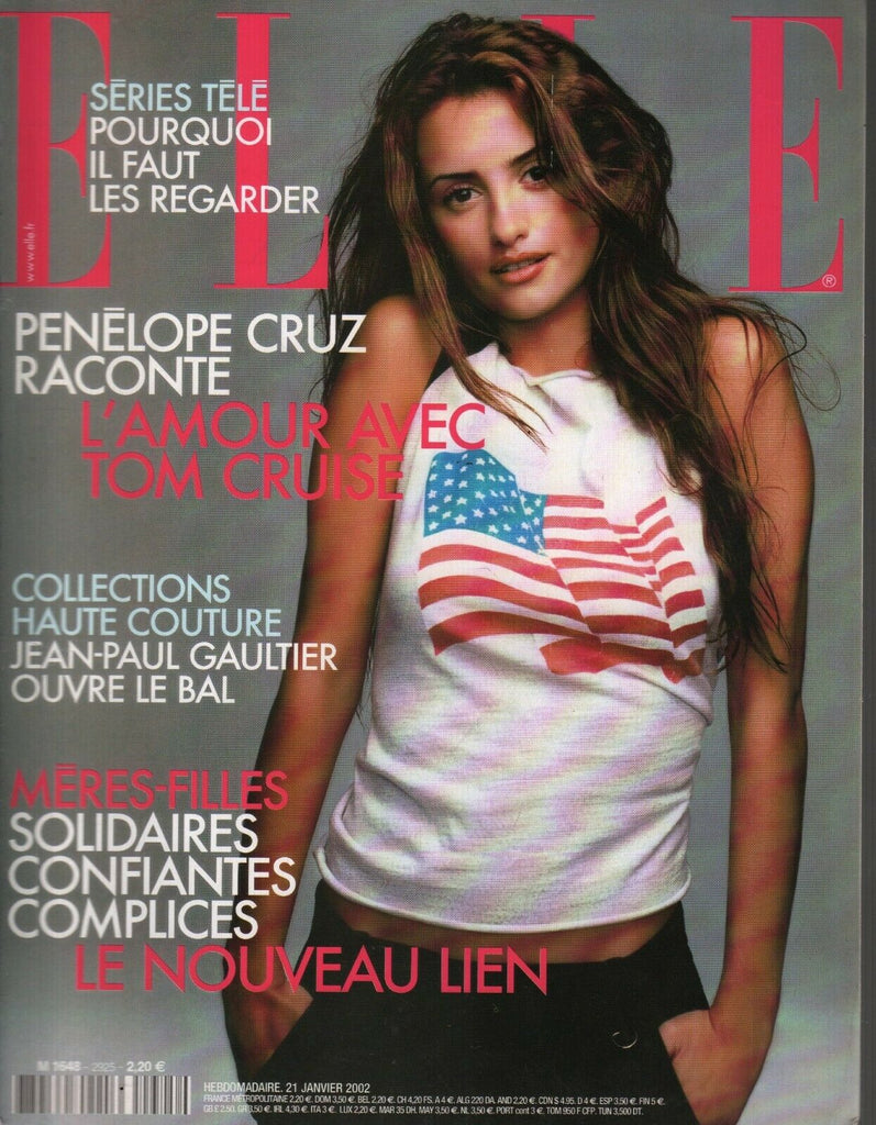 Elle French Fashion Magazine 21 Janvier 2002 Tom Cruise Penelope Cruz 091719AME2