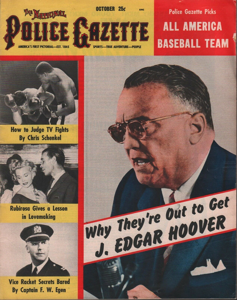 National Police Gazette October 1954 J. Edgar Hoover Rubirosa 052218DBE