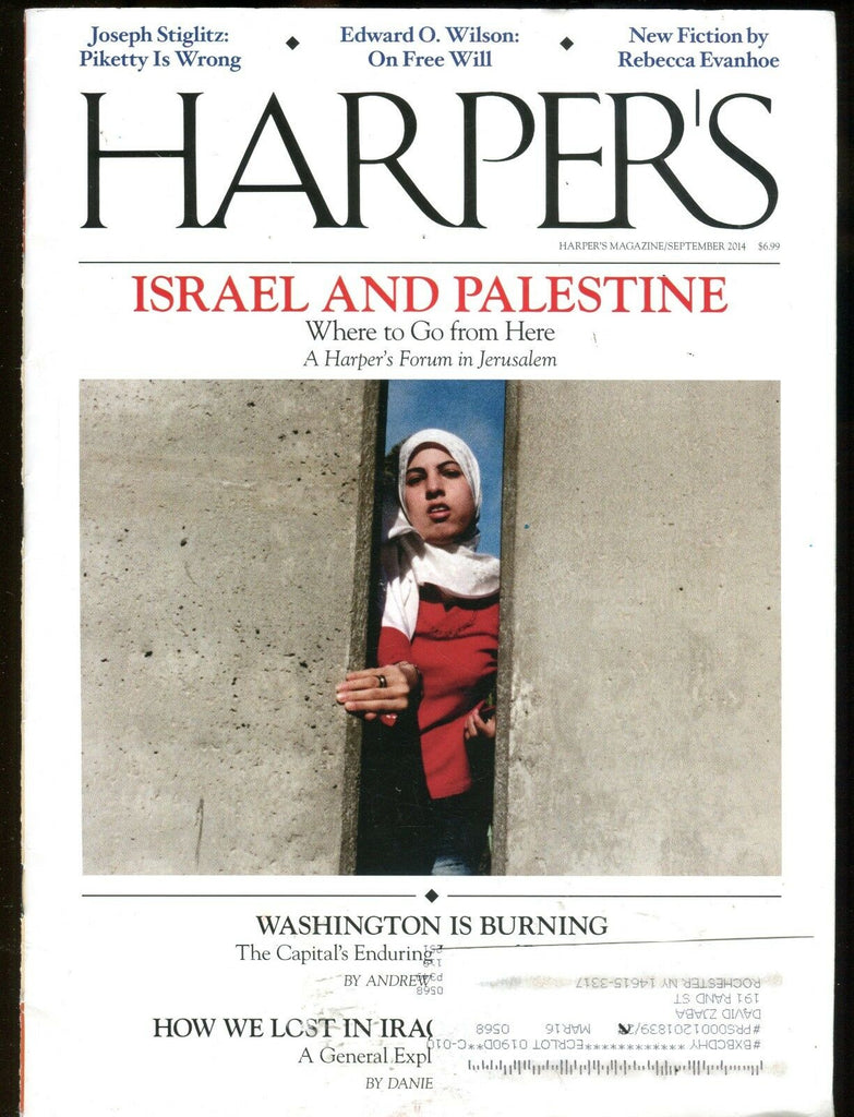 Harper's Magazine September 2014 Israel And Palestine EX w/ML 113016jhe