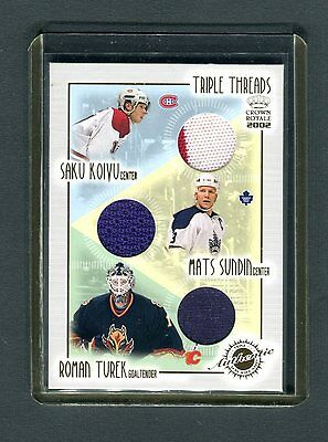 Triple Threads Crown Royale 2002 #12 Koivu Sundin Turek Jersey Card jh33