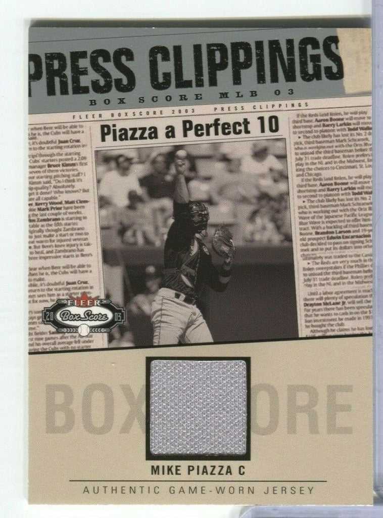 Mike Piazza C box Score Fleer Jersey Card 2003 MP-PC 100219DBCD2