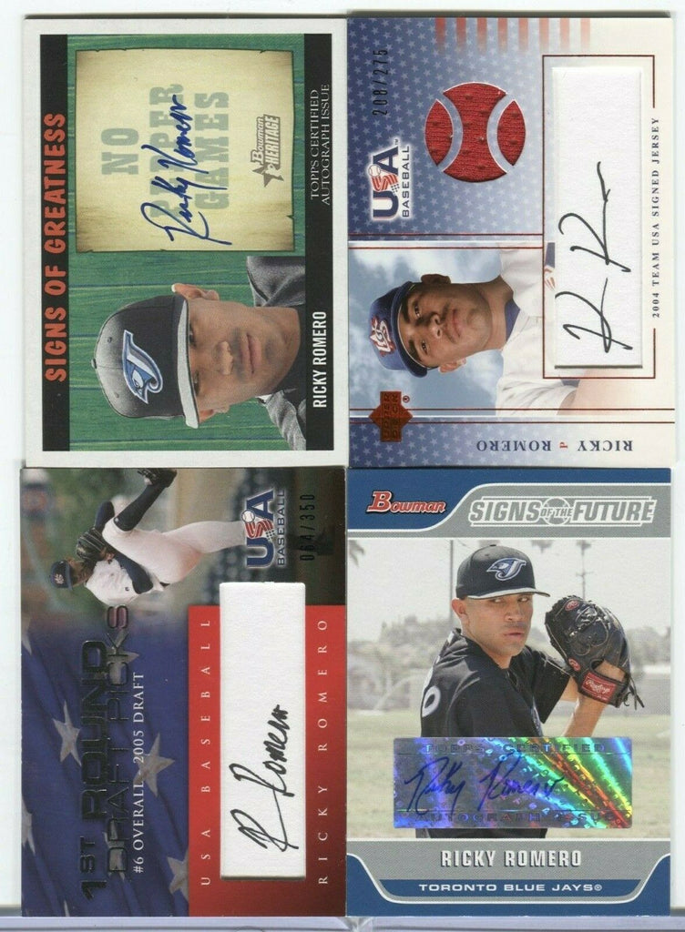 Ricky Romero Blue Jays Signed Cards lot of 4 upper Deck Topps Bowman 101019DBCD