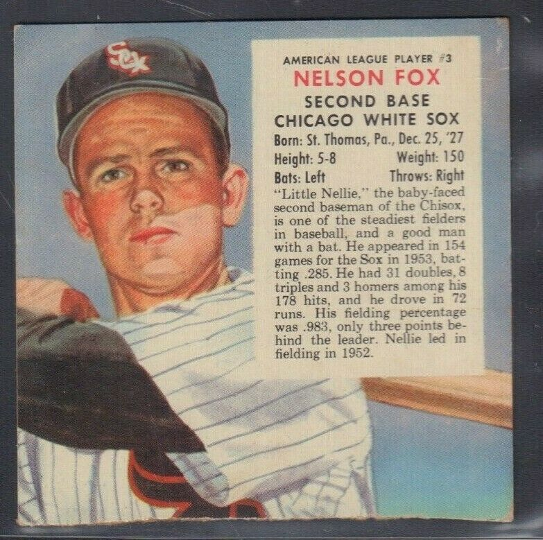 1955 Nelson Fox White Sox Red Man Tobacco Cut Baseball Card 030819DBT