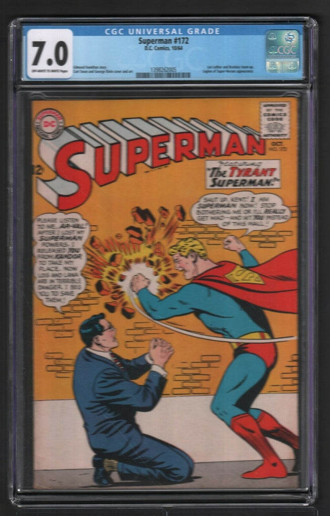 Superman #172 1964 DC Comics CGC 7.0 Lex Luthor Brainiac Team-up 042519DBC