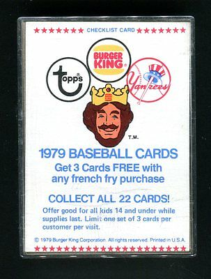 1979 Topps Baseball Burger King NY Yankees Team Set jh36