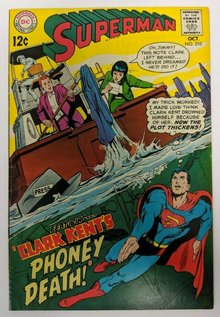 Superman # 210 VF- DC 1968 042519DBC