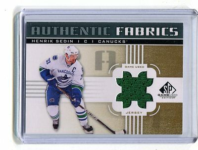 2011-12 SP Authentic Fabrics Game Used Henrik Sedin Canucks Jersey jh17