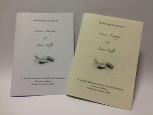 Ceremony Booklet with black ink card cover - Jayceefinecards