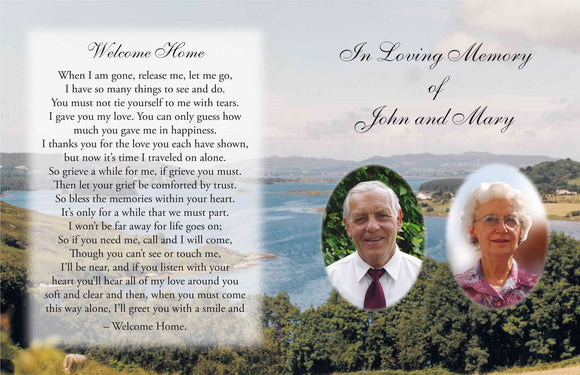 Memorial Card 1152 Personalised Duo - Jaycee