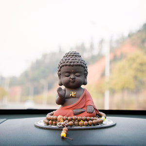 Handmade Meditating Sitting Buddha Statue Sculpture Figurine Home / Car Deck Decoration Rustic Oriental Accent
