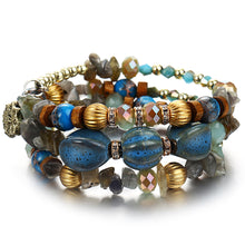 Load image into Gallery viewer, blue boho crystal bracrelet