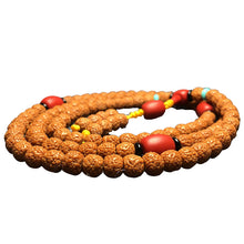 Load image into Gallery viewer, 108 Rudraksha japa mala with red sherpa beads