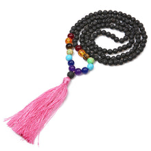 Load image into Gallery viewer, 108 Beads Volcanic beads Chakra Mala Necklace