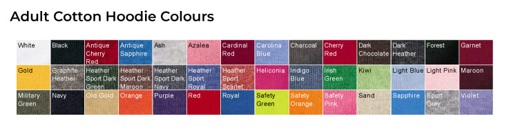 Adult Hoodie Colours