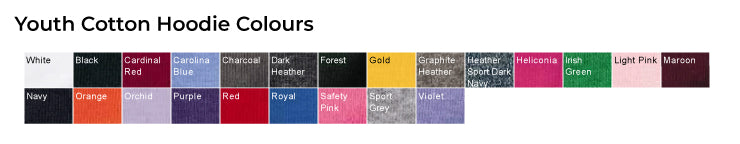 Youth Hoodie Colours