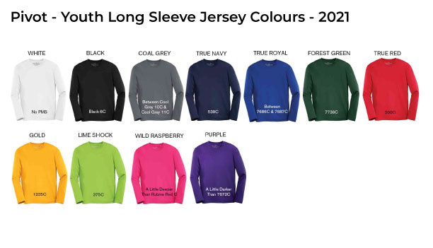 Youth Long Sleeve Jersey Colours