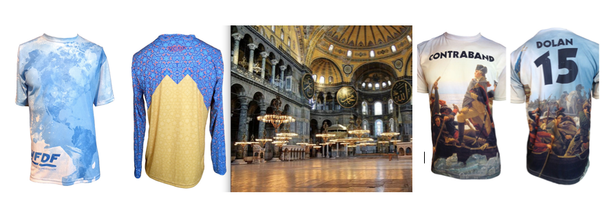 It never hurts to aspire to an original design (Watercolor Jersey). But some designs are inspired from life (Turkish LS, from the Hagia Sophia Basilica). Other times, you can get the rights to reproduce an image (Contraband).