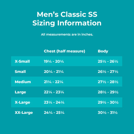 Men's Classic SS Sizing Information