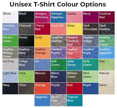 Unisex T-Shirt Colours