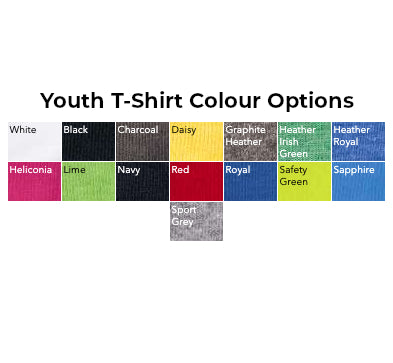 Youth T-Shirt Colours