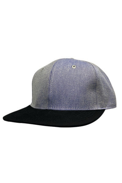 Denim/Black Snapback- front