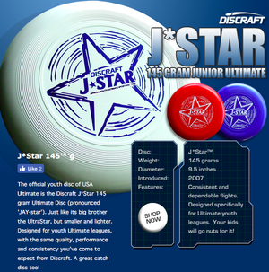 Ultimate Frisbee Disc Discraft J-Star Youth