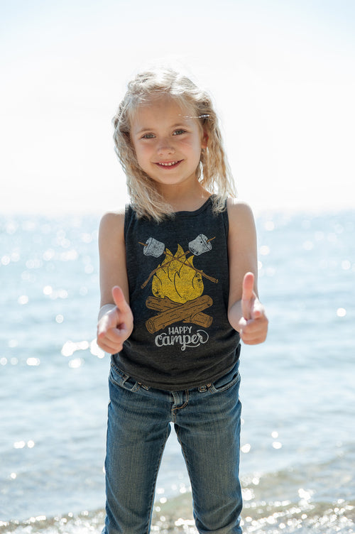 Happy Camper Triblend Black Toddler Tank Top
