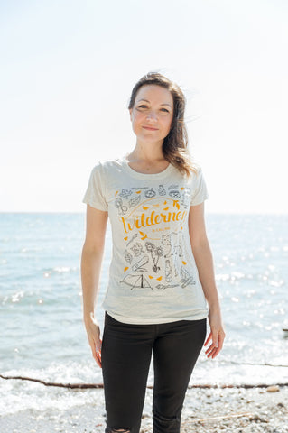 The Wilderness is Calling Triblend Oatmeal Ladies Shirt